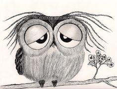 "Its been a long day.."" says Mr. Owl - 8-1/2 X 11"" Premium gloss art print. $18.00, via Etsy."
