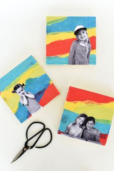 DIY Tissue Paper Photo Collage Wall Art