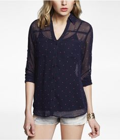 HEART PRINT PORTOFINO SHIRT | Express super cute!!