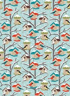 will need to get some of this for Christmas... Birdhouses Wrapping Paper