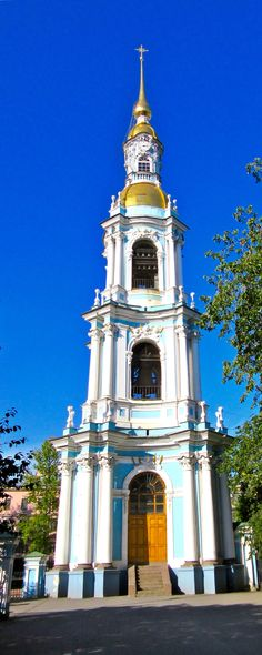 St.Nicholas Naval Cathedral bell tower,St.Petersburg,Russia