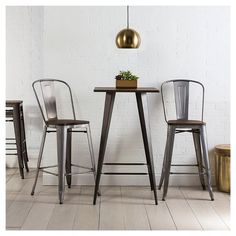 "Carlisle Wood Seat 29"" Barstool (Set of 2) Steel/Natural Metal - Ace Bayou"