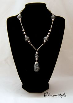 pearls and polymer clay beads necklace