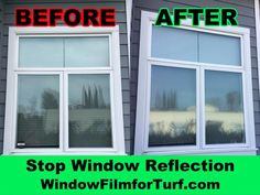 Turf can get damaged or melted by windows. The picture shows a window before and after Turf Guard Window Film was installed. Turf Guard stops windows from melting artificial turf. Window Reflection, Artificial Turf, Window Film, Picture Show, Grass, Exterior, Windows, Pictures, Photos