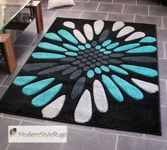 Black Grey and Teal Blue - Burst Splash Design - Very Modern Design Quality Rug - Ideal Mat For Carpet Or Laminite Flooring - Available In 2 Large Sizes, 160 x 235cm - (5ft 3 x 7ft 9) Modern Style Rugs http://www.amazon.co.uk/dp/B007NYYR6O/ref=cm_sw_r_pi_dp_KE0evb1JERRQW