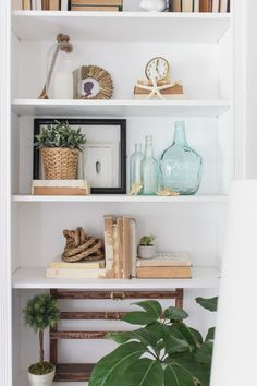 Styled bookcase with neutral coastal decor: