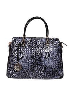 Fashion Black Leather Tote Bag With Snake Pattern BG0010220-1