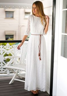 Add a stop-and-stare piece to your wardrobe by getting this super sweet white maxi dress.