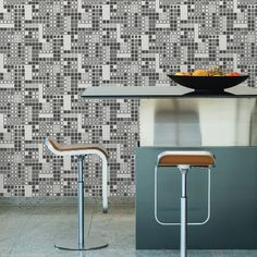 Bantry Geometric by Brewster. $119.95 per double roll.  5 colors. Modern. Abstract. Pixelated. #moderndecor #mosaicwallpaper #wallcoverings #homedecorideas Mosaic Wallpaper, Paper Wallpaper, Geometric Wallpaper, Wallpaper Roll, Drops Patterns, Black And White Design, Game Room, Modern Decor, Pattern Design