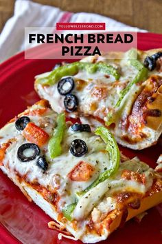 French Bread Pizza is a quick and easy dinner that's also perfect for game day or movie night. French bread with sauce, cheese and your favorite toppings!