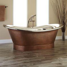 "78"" Extra Wide Marcy Hammered Copper Double-Slipper Tub - Nickel Interior - Bathtubs - Bathroom"