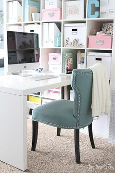 Hello fabulous desk chair from @HomeGoods! I am loving this office room makeover filled with beautiful accessories and chair from Home Goods. Must see  before and after. @Chelsea | two twenty one office spaces, organize office space, office storage, office rooms, room makeover, office chairs, two desk office, home offices, desk chairs
