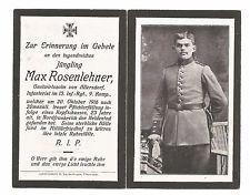 WWI GERMAN DEATH CARD - PTE.  MAX RUENIEHNER - 13TH INF. BDE 9TH CO. (GDC-1)