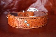 Tooled Dog Collar - Medium Sized by KellysLeatherDesign on Etsy Medium Sized Dogs, Leather Dog Collars, Leather Design, Cuff Bracelets, My Etsy Shop, Buy And Sell, Jewels, Brown, Silver