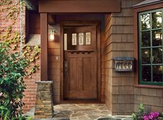 Holiday Front Door Decor: Dutch Door With Unique Decoration Craftsman Style Front Doors, Craftsman Door, Craftsman Style Homes, Craftsman Houses, Modern Craftsman, Front Door Design, Front Door Colors, Front Door Decor, Entrance Decor