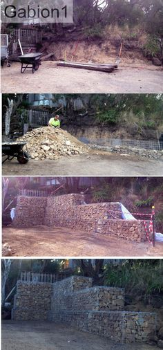 gabion retaining wall using heavy duty 4.5mm welded mesh gabions 600mm tall x 600mm thick http://www.gabion1.com.au