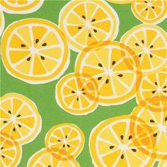 green Michael Miller fabric with yellow lemon slices - Food Fabric - Fabric Tissu Michael Miller, Michael Miller Fabric, Textile Design, Fabric Design, Pattern Design, Textures Patterns, Print Patterns, Lemon Print, Lemon Slice