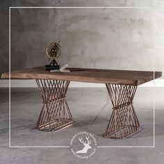 solid wood meets with raw metal . solid wood meets with raw metal . solid wood meets with raw metal . Steel Furniture, Table Furniture, Luxury Furniture, Cool Furniture, Living Furniture, Furniture Design, Meeting Table, Office Meeting, Metal Wall Art Decor