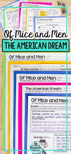 Best American Dream Images  High School English Middle School  Of Mice And Men The American Dream Thematic Unit Research Paper Essays also Essay Samples For High School  Thesis Statement Examples For Narrative Essays