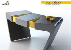 Industrial designer Olga Kalugina presented us a few years ago with an award winning modular concept of a cook table, which exactly matches my idea of stylish modern furniture for my dream kitchen:  the Accordion Folding Cook Table.