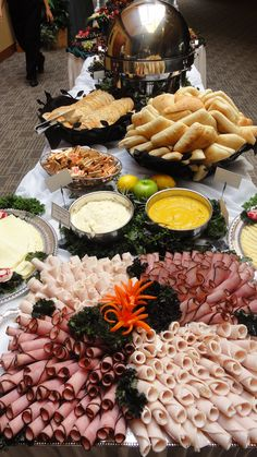 Sandwich Buffet ~ breads (breads / croissants), spices (mustard, m . - Food-Dekoration, Catering etc - # Party Platters, Party Trays, Snacks Für Party, Party Appetizers, Wedding Appetizer Table, Appetizer Table Display, Appetizer Ideas, Sandwich Buffet, Sandwich Station