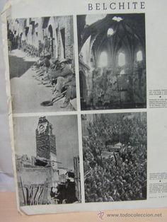 Belchite Teruel Guerra Civil . año 1938 hoja con fotos toma tropas nacionales