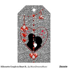 #SilhouetteCouple in #Heart #RedHeartJewels #Silver #GiftTags by #MoonDreamsDesigns