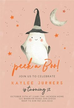Ghostly Birthday - Birthday Invitation #invitations #printable #diy #template #birthday #party Free Birthday Invitations, Gift Registry, Text Messages, Rsvp, Create Yourself, Printable, Draw, Christmas Ornaments, Holiday Decor