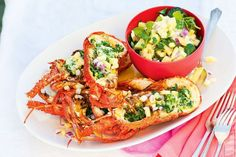 Barbecued lobster and pineapple and watercress salsa