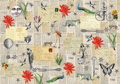 Wallpaper made of vintage newsapaper and cards by Elisandra 2017