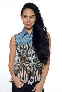 All Day Every Day Sleeveless Chiffon Denim Collar Top - Black and White Zebra from Fashion Web at Lucky 21