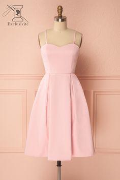 Cotton candy pink A-line cocktail dress with pockets - Robe cocktail rose bonbon à coupe ligne A et poches