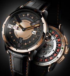 "Christophe Claret Poker Watch For Luxury Wrist Gaming - See and read how it works on aBlogtoWatch.com ""Less than two weeks ago aBlogtoWatch previewed the newest mechanical gaming watch by Swiss Christophe Claret. Able to play a full game of Texas Hold 'em, the Christophe Claret Poker is the most complicated mechanical gaming watch this or any other watch manufacture has ever produced...."""