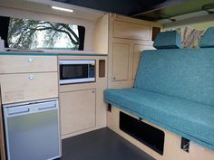Custom design your own Achtung Camper with any colours and patterns you want! We love this super stylish blue rock and roll bed! Vw Campervans For Sale, Van Conversion Campervan, Rock And Roll Bed, Used Hyundai, Portable Solar Panels, Dinosaur Design, Car Wrap, Leather Design, Camper Van