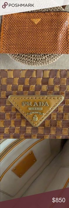 86e9c4755521f Prada Pochette Madras Bag in Cognac This gorgeous woven Prada Clutch was  purchased in Saks in
