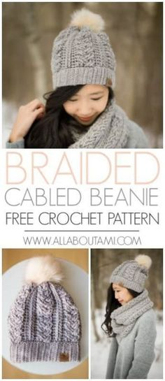 I love this free crochet pattern for the braided cabled slouchy beanie. It looks knit, but is in fact crochet! The fluffy pom pom on top is such a cute finisher! Hats pom pom Braided Cabled Slouchy Beanie - All About Ami Crochet Cable, Crochet Mittens, Love Crochet, Crochet Gifts, Crochet Top, Chunky Crochet Hat, Crochet Slouchy Hat, Crochet Hat For Women, Simple Crochet