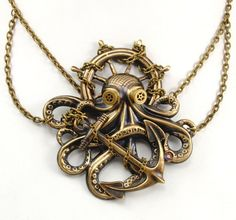 Steampunk Necklace - Steampunk Octopus Necklace, Mythical Kraken or Great Cthulhu In Steampunk Goggles - Victorian Monster - A Perfect
