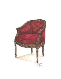 Red Velvet Antique Chair Illustration Art Print 8x10 by meeshworks