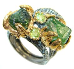 $66.85 Classic+Authentic++Moldavite+and+Peridot+Gold+plated+over+Sterling+Silver+Ring+s.+7 at www.SilverRushStyle.com #ring #handmade #jewelry #silver #moldavite