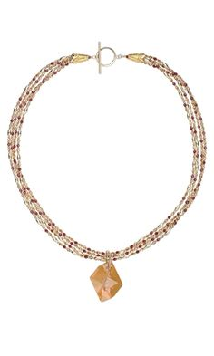 Multi-Strand Necklace with Swarovski Crystal Beads and Focal and Gold-Filled Beads