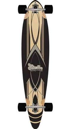 Stella Longboard Black Pinstripe Pintail Skateboard Complete
