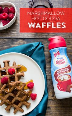 Add the taste of Coffee-mate Marshmallow Hot Cocoa flavor coffee creamer to your waffles and breakfast is unbeatable. Taste the flavor of cocoa, steamed milk and marshmallows in every bite. Whether it's a special holiday morning breakfast or simply a weekend treat, this dish is sure to delight your friends and family.