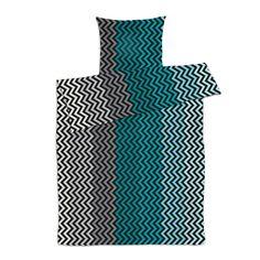 Sengetøj 140x200 cm. Zigzag green.