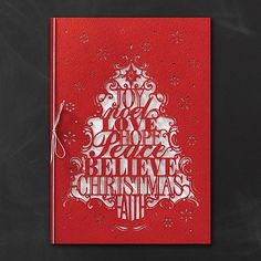 Words of Christmas - Holiday Card Send words filled with holiday spirit this Christmas. This layered holiday card features sentiments die-cut from the outer wrap to form an adorable Christmas tree. Item Number:YME1243 $327.00-$334.00 Per 100
