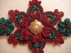 -Crochet Large Trimmed Snowflake & Tiny Flower Set Glittered Pearl Brad ...