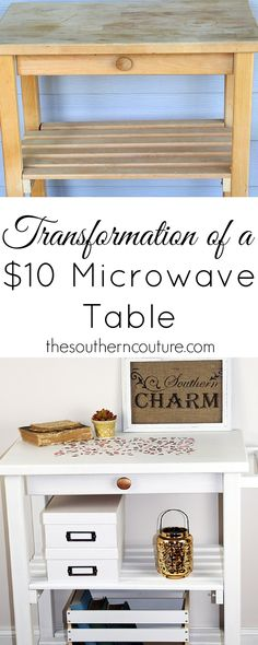 After buying this microwave table for only $10, I couldn't help but transform it with a little paint and some furniture stencils. Shattered Allover Furniture Stencils - Modern DIY Decor Projects - Royal Design Studio Stencils