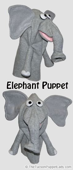 Elephant hand puppet sewing pattern available from Craftsy for $5. Made from fleece, felt and foam.
