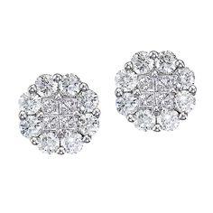 Diamond Clusters Flower Stud Earrings in 14k White Gold (0.54 ctw) - Allurez.com