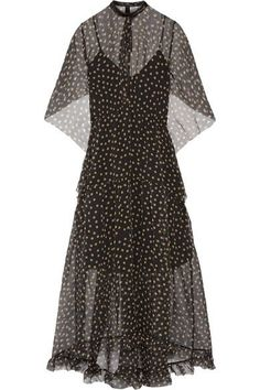Petar Petrov - Leather-trimmed Polka-dot Silk-organza Maxi Dress - Black - FR