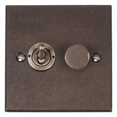 2 Gang Steel Dolly/Rotary Dimmer Switch Bevelled